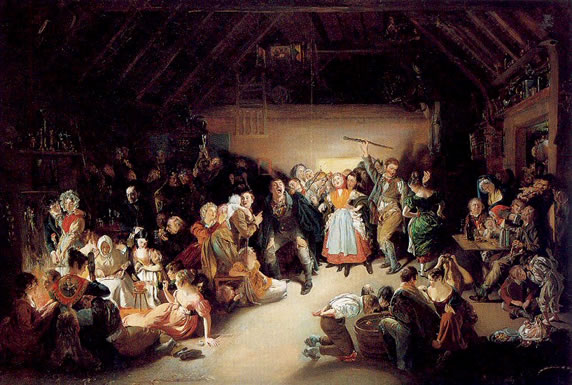 Snap-Apple Night, painted by Daniel Maclise in 1833, shows people feasting and playing divination games on Halloween in Ireland.