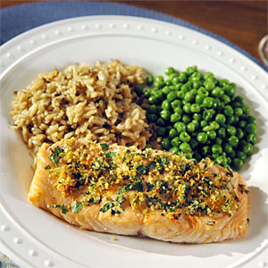 Roasted Salmon, Rice and Peas