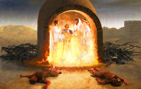 Shadrach, Meshach & Abednego in fiery furnace