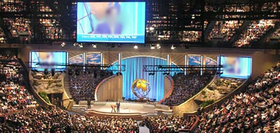 MegaChurch with False Globe Earth