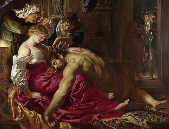 Samson on Delilah's Laps (Rubens)